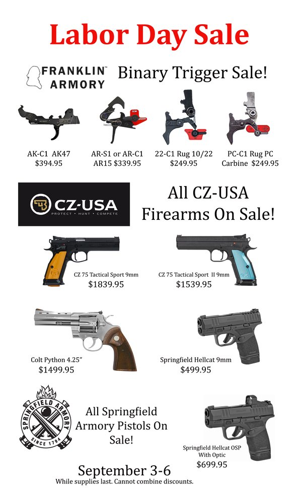 Labor Day Sale Flyer Pistols