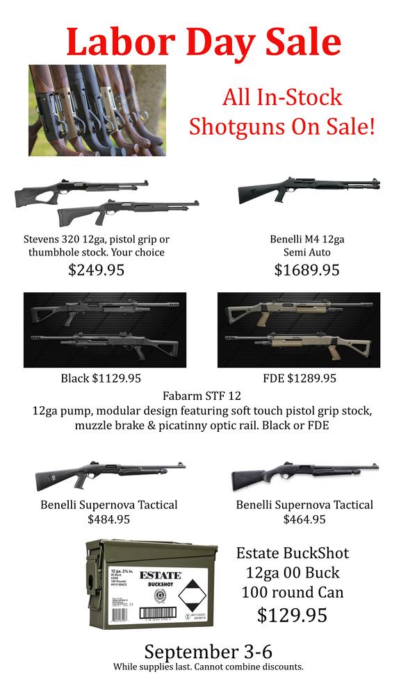 Labor Day Sale Flyer Shotguns